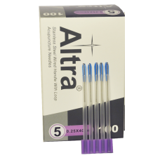 ALTRA AS-TYPE Chinese Style Stainless Steel Handle with Loop Acupuncture Needle 5 needles per 5 guidetubes